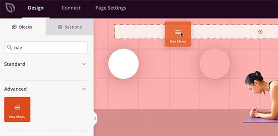 Add navigation menu block