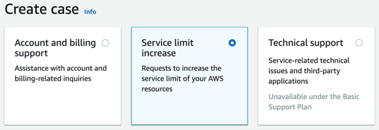 Click on the Second Option, 'Service Limit Increase'