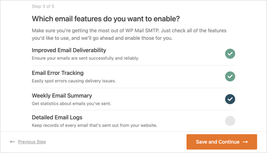 You Will Be Asked Which Email Features You Wish to Enable