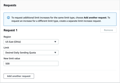 Select 'Desired Daily Sending Quota' From the Drop Down Menu