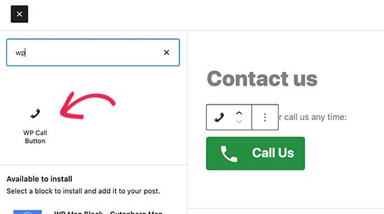 Adding call button using block editor