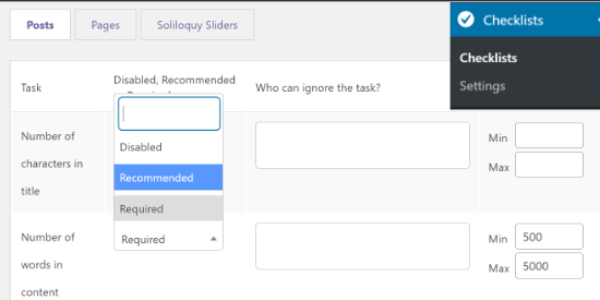 Change PublishPress Checklists settings