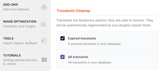 Check boxes transient cleanup