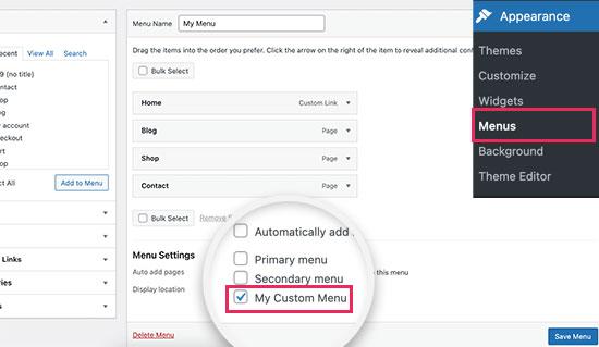 Custom navigation menu added to the theme