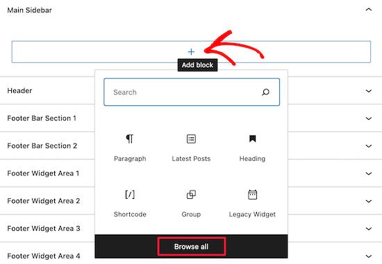 Click add widget block icon