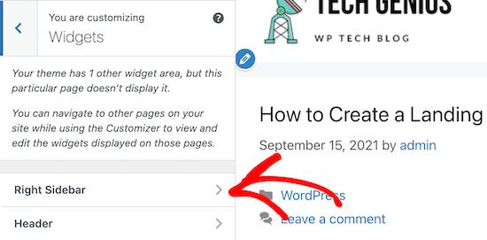 Click right sidebar widget