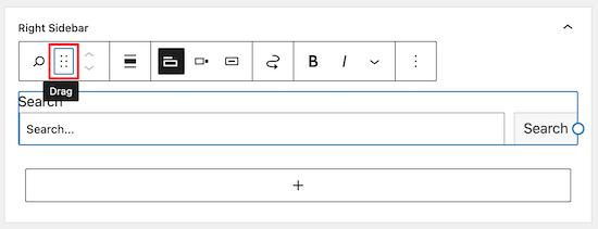 Click drag icon to move widget