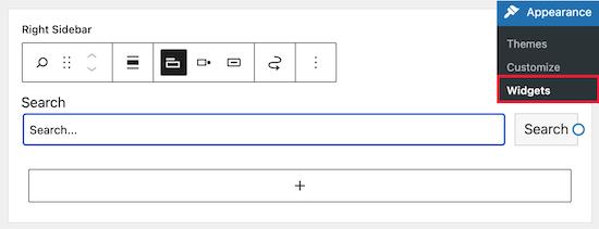 Click widget block to delete