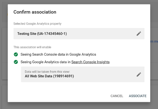Confirm association between Analytics and Search Console