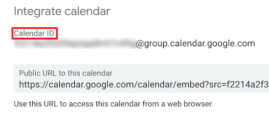 Copy calendar ID