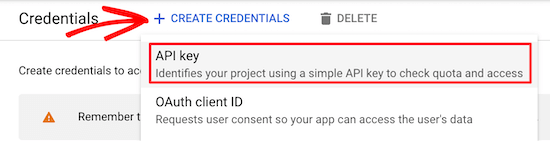 Create credentials for API key