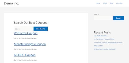 Esempio di modulo di ricerca del tipo di post personalizzato