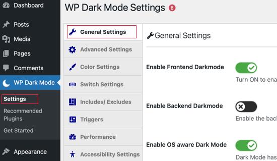 WP Dark Mode General Settings