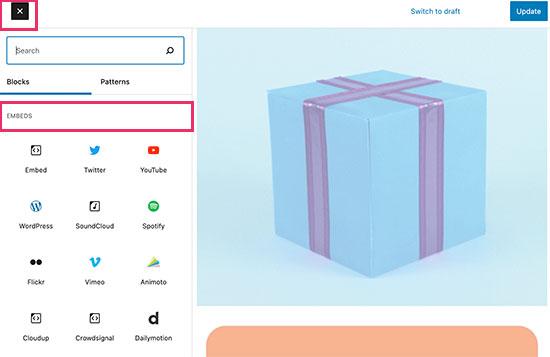 Embed blocks in WordPress
