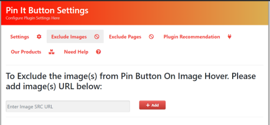 Exclude images from pin it button