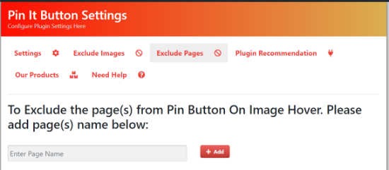 Exclude pages from pin it button