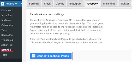 Click the Connect Facebook Pages Button