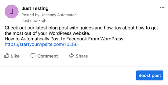 This Is How the Post Appeared on Our Facebook Page