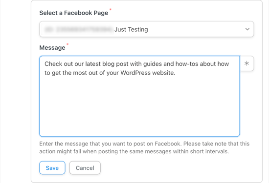 Select the Facebook Page You Wish to Post To