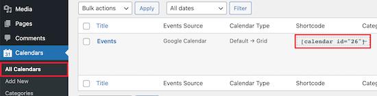 Find calendar shortcode