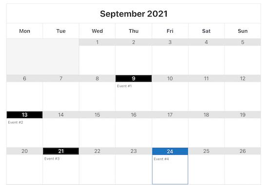 Google Calendar events example