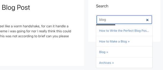Esempio di widget di ricerca Ajax live