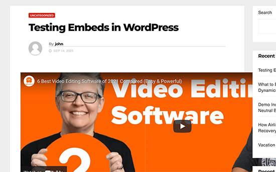 A WordPress embed overflowing the content width
