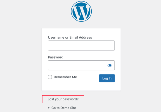 Click on 'Lost Your Password?'