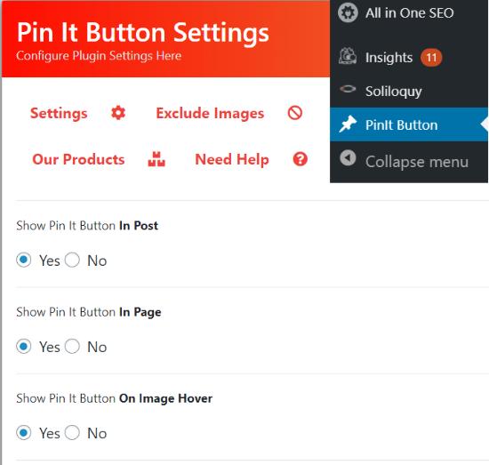 Pin it Button settings