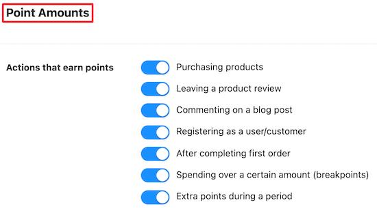Point amounts toggle
