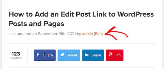Post edit link WordPress post example