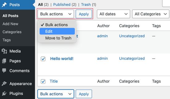 Convert Multiple Posts Using Bulk Edit