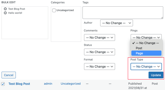 Change the Post Types as Needed