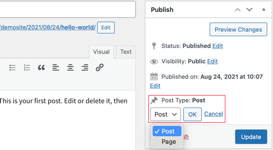 Switch Post Type from the Classic Editor