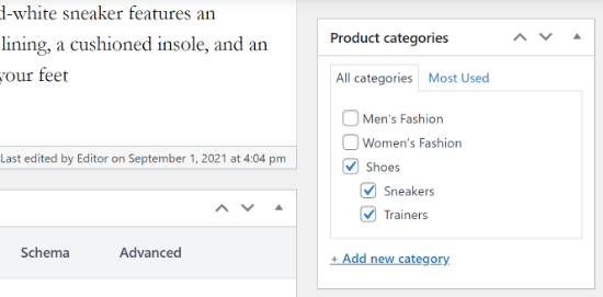 Product has multiple categories