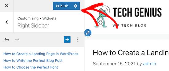 Save sidebar widget changes in customizer