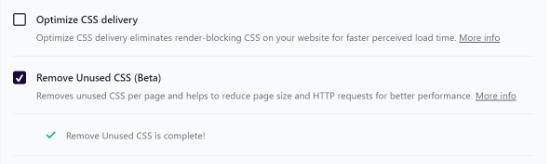 Remove unused CSS complete notification
