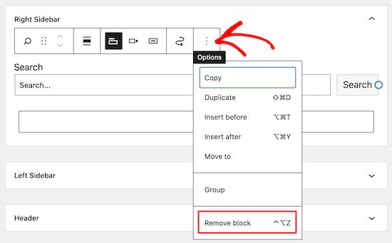 Click options and remove widget block