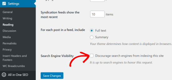 Search Engine Visibility option in WordPress