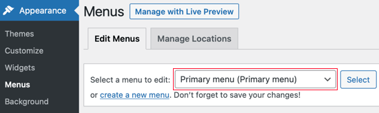 Make Sure the Primary Menu Is Selected
