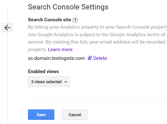 See connected Search Console with Analytics