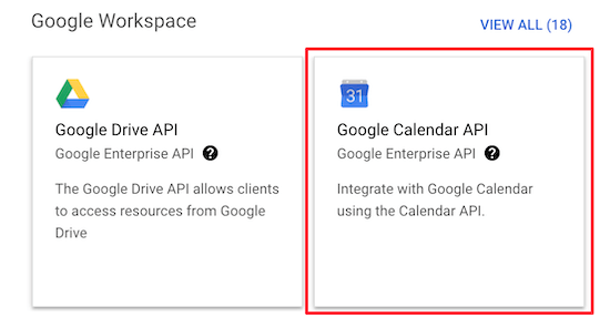Select Google Calendar API