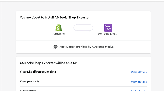 Shopify to WooCommerce app permissions