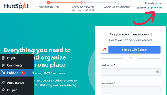 Sign in to your HubSpot account