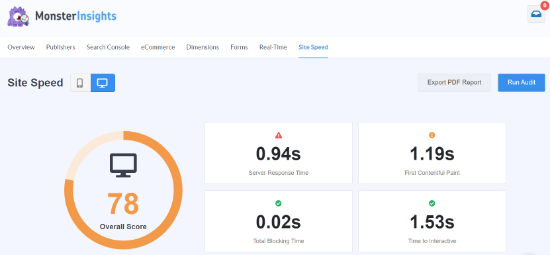 Site Speed Report in MonsterInsights