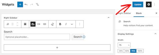 Aggiorna e salva il widget del modulo di ricerca