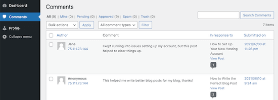 User comment moderator dashboard