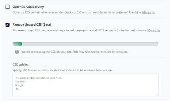View remove unused CSS progress bar