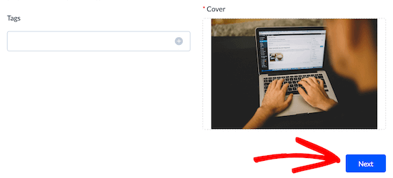Add event cover image and click next