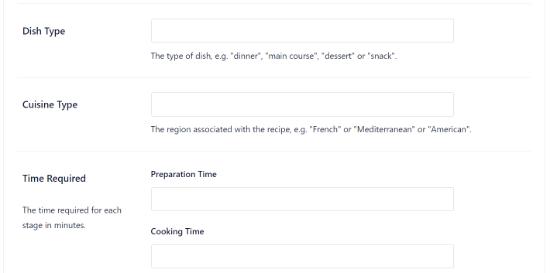 Additional fields to enter recipe schema information